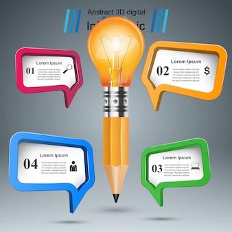 ビジネスインフォグラフィックス。電球、ライト、ペンシル