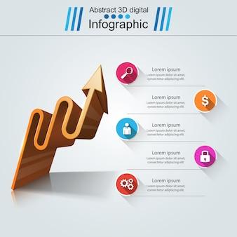 インフォグラフィックデザインテンプレート。矢印ロゴ。