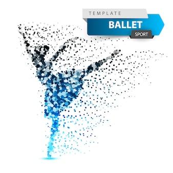 バレエ、ダンス、女の子 - ドットイラスト