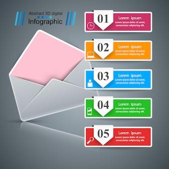 Конверт, почта, электронная почта - бизнес-инфографика