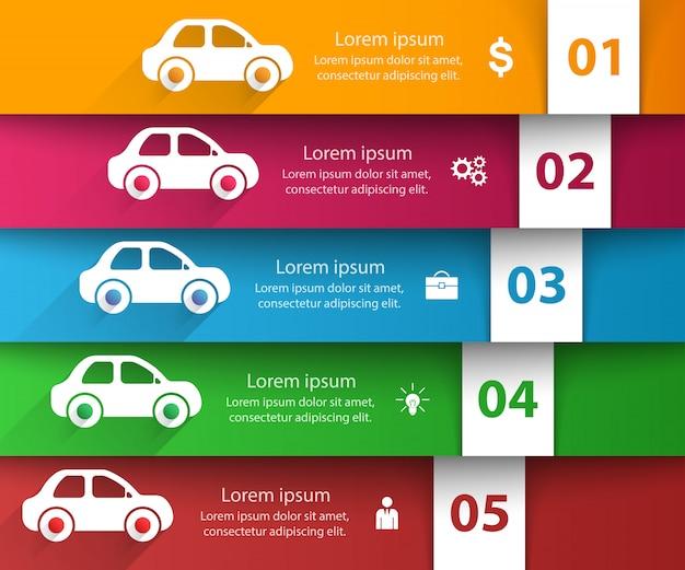 道路インフォグラフィックテンプレートとマーケティングアイコン。