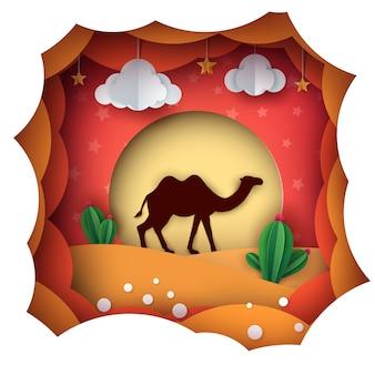 Мультфильм бумажный пейзаж. верблюд иллюстрация.
