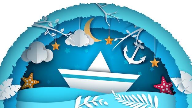 Морской бумажный пейзаж