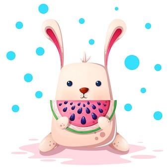 スイカとかわいいウサギのイラスト