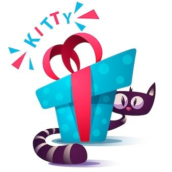 Милый котенок персонажей с синим подарком