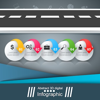 道路インフォグラフィックデザインテンプレートとマーケティングのアイコン。