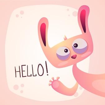 かわいいウサギ - 面白いこんにちはイラスト