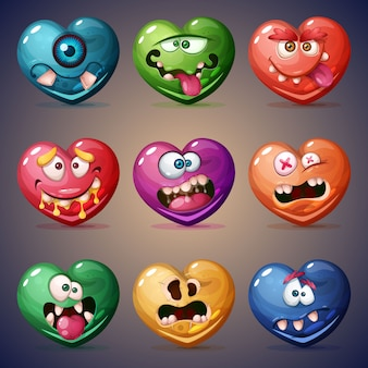 バレンタインの心を設定します。愛のイラスト
