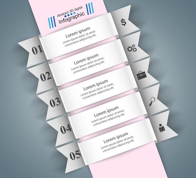 ビジネスインフォグラフィック折り紙スタイルベクトルイラスト