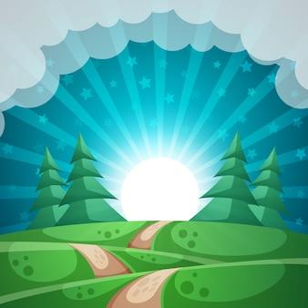 夏の風景太陽、もみ林道