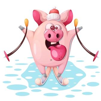 Милая розовая свинья с лыжами