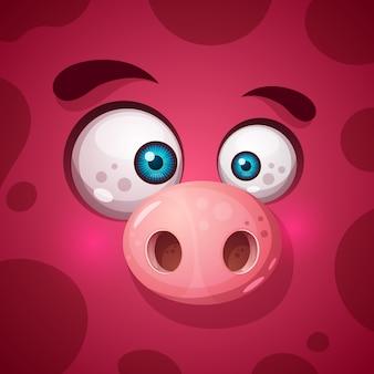 面白い、かわいいモンスター豚のキャラクター