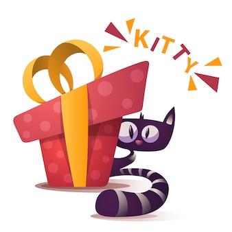 Милый котенок персонажей с красным подарком