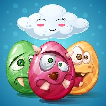 Счастливого пасхального мультфильма. установить значок яйца
