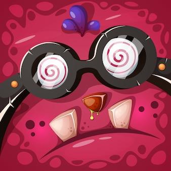 Забавный, милый сумасшедший тыквенный персонаж. хэллоуин иллюстрация.