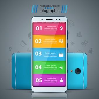 ビジネスのインフォグラフィック。スマートフォンのリアルなアイコン