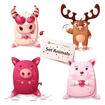牛、鹿、豚の猫セット動物