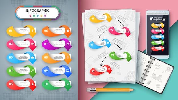 ビジネスのインフォグラフィック。あなたのアイデアをモックアップしてください。