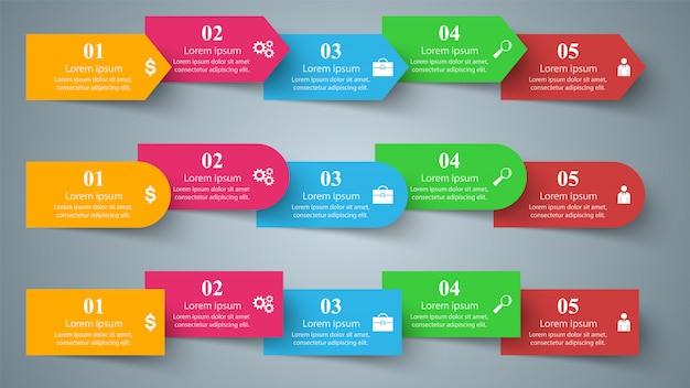 ビジネスインフォグラフィック折り紙スタイルの図