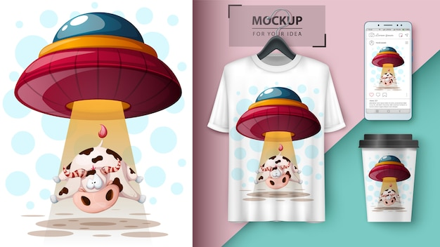 Нло, корова. дизайн футболки