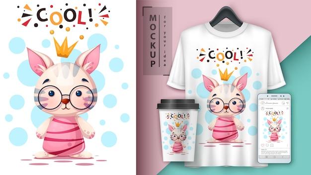 Мультипликационный кот, котенок. дизайн футболки