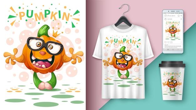 Мультяшная тыква - дизайн футболки