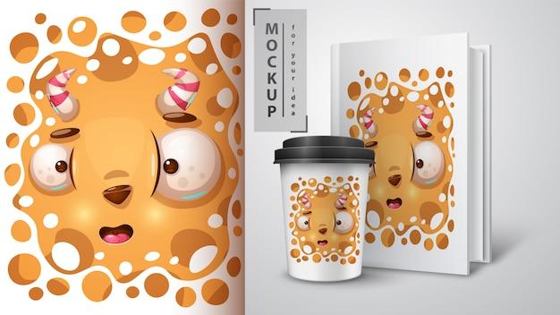 Страшный монстр дизайн для чашки