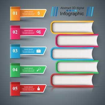 本、読む、教育 - 学校のインフォグラフィックテンプレート