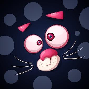 おかしい、かわいい猫のキャラクター。