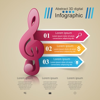 Музыкальная инфографика. значок скрипичного ключа. значок примечания.