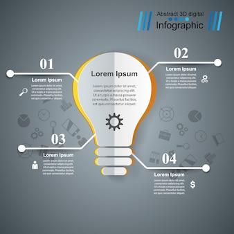 インフォグラフィックデザインテンプレートと電球。
