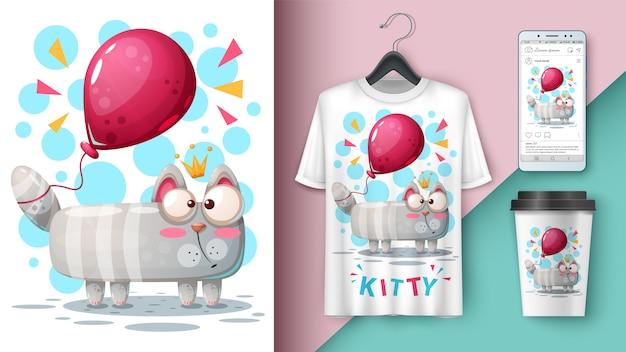 Кошка и воздушный шар и мерчендайзинг