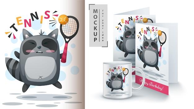 アライグマがテニスのポスターとマーチャンダイジングをする