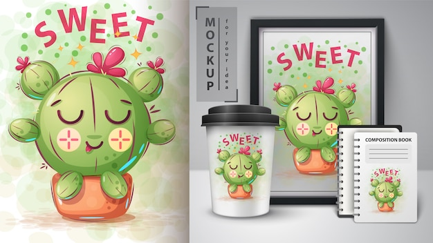 Сладкий плакат кактуса и мерчендайзинг