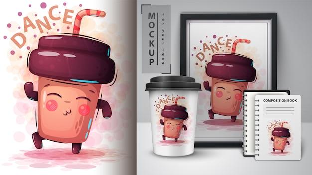 Танцевальная кофейная иллюстрация и мерчендайзинг