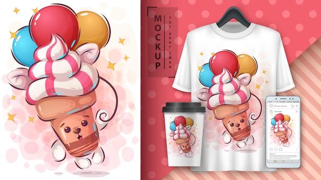 フライアイスクリームのポスターと商品化