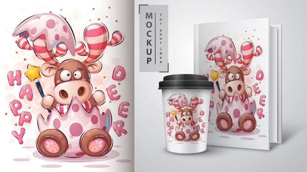 メリークリスマスの鹿のポスターと商品化