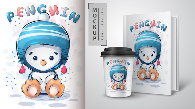 Зимний пингвин иллюстрации и мерчендайзинг.