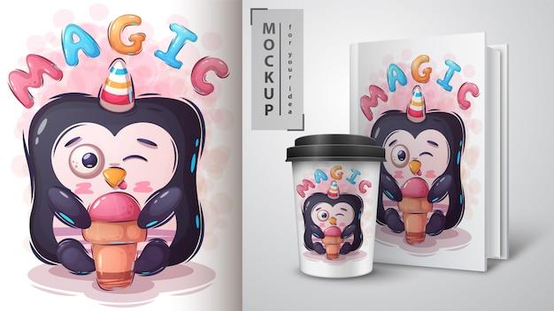 ペンギンはアイスクリームのイラストと商品を食べる