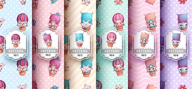 Набор бесшовных паттернов персонажей на воздушных шарах