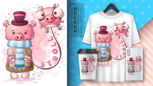 Симпатичная зимняя свинья - постер и мерчендайзинг