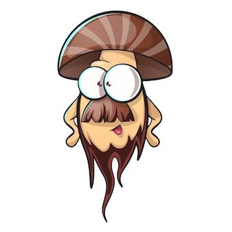 ひげのある漫画のキノコ
