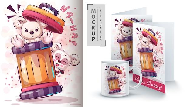 かわいいシロクマのポスターとマーチャンダイジング