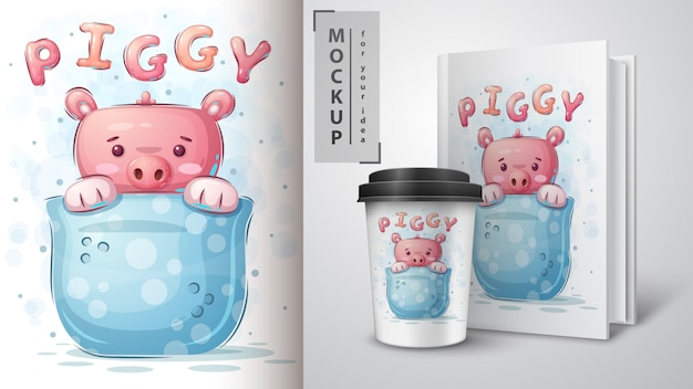 Свинья в чашке - плакат и мерчендайзинг.