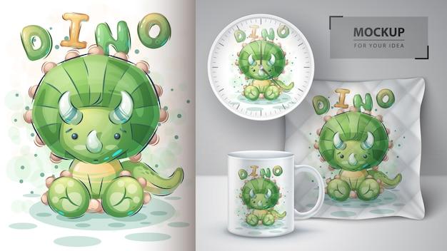 緑の恐竜のポスターとマーチャンダイジング