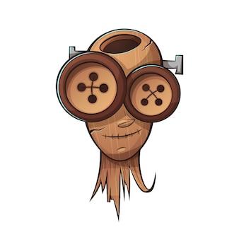 木製の頭、顔の人。漫画イラスト。