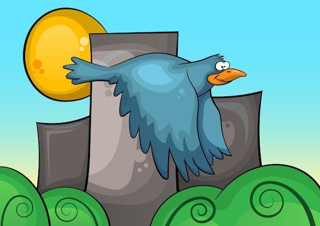 都市景観の背景に青い鳥。