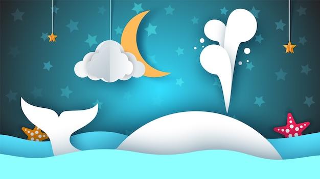 Кит, море, звезда, небо, луна - бумага мультфильм иллюстрации.