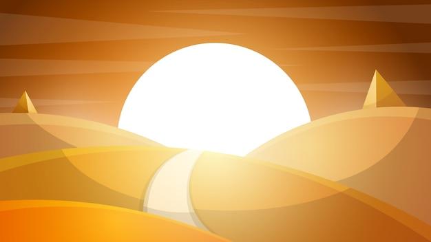 Пустынный пейзаж. пирамида и солнце.