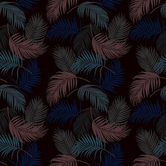 熱帯の葉の暗い夏の夜のシームレスパターン